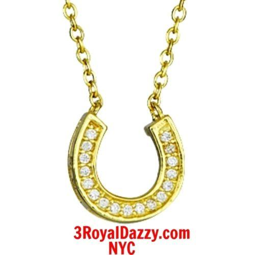 New 14k Yellow Gold layer on Solid Silver Crystal CZ Horseshoe Pendant Necklace - 3 Royal Dazzy