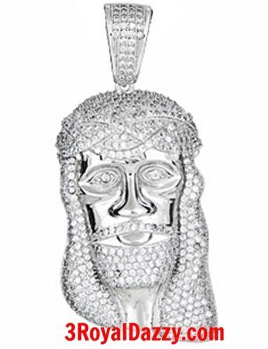 Mens Hip Hop Iced Out 3D Jesus Face white gold on 925 Silver Pendant- Large Size - 3 Royal Dazzy