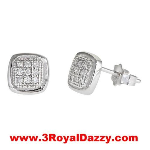 Men Square bumper style micro pave with CZ .925 Sterling Silver Stud  Earrings - 3 Royal Dazzy