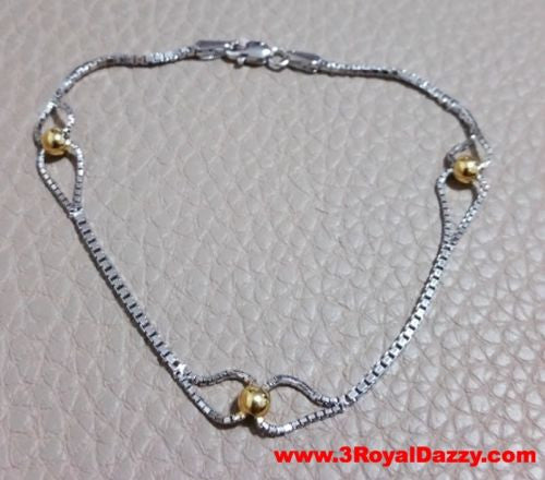Trendsetting 14k Yellow Gold Layer on 925 Sterling Silver Tear Drop Bracelet - 3 Royal Dazzy