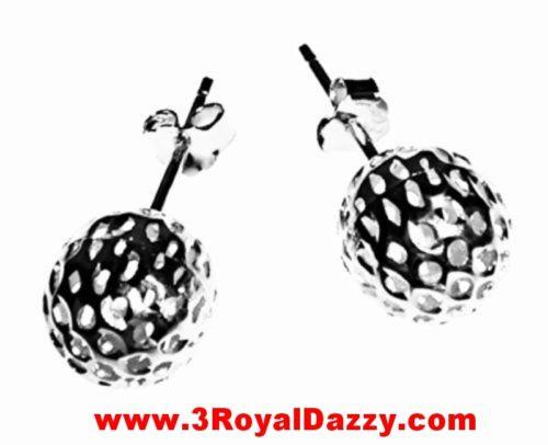 9mm Round Hollow Shiny Cut Ball Earring 18k Layered on .925 Sterling Silver - 3 Royal Dazzy