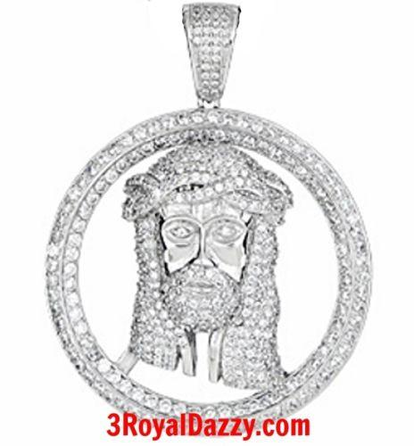 Hip Hop Iced Out Jesus Face white gold on Silver Pendant Medallion - Large Size - 3 Royal Dazzy