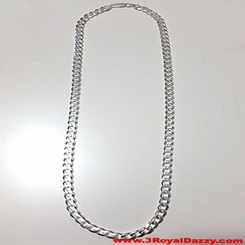 "Men Women Children Sterling Silver Italian Cuban Curb Thicker Necklace 6.5mm 24"" - 3 Royal Dazzy"
