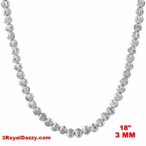 "18k w gold layered over 925 sterling silver Beaded Bling Moon Cut chain 3 mm 18"" - 3 Royal Dazzy"