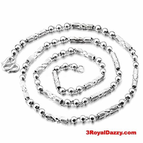 "Women Handmade solid .990 Fine Silver Round Ball & Bar Necklace Chain - 4mm 24"" - 3 Royal Dazzy"