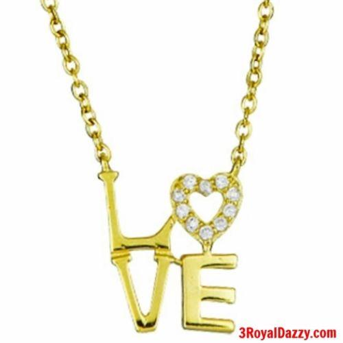 "14k Yellow Gold on 925 Sterling Silver Women Girls ""Love"" Heart Letters Necklace - 3 Royal Dazzy"