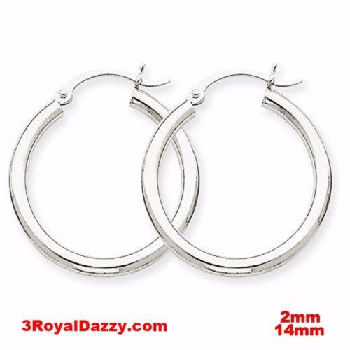 Plain Round Hoop Earring 14kt gold layer on Silver notched w/ Post Back-2mm 14mm - 3 Royal Dazzy
