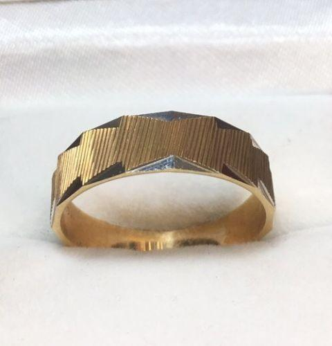 New 14k Solid Yellow & White Two Tone Diamond Cut 6mm Gold ring 3.6g - Size -9 - 3 Royal Dazzy