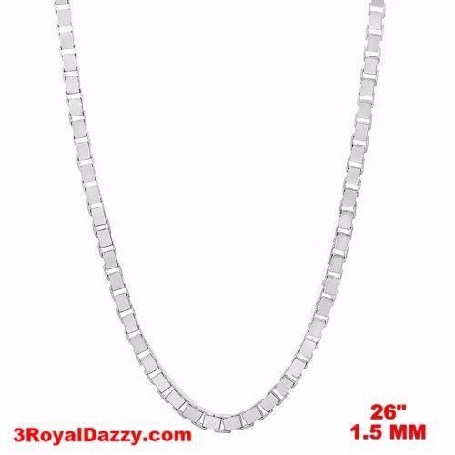 "Italy 14k white gold layered over Solid 925 sterling silver Box Chain- 1.5mm 26"" - 3 Royal Dazzy"