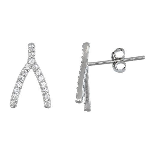 Wishbone18K white gold over .925 sterling silver CZ Earrings - 3 Royal Dazzy