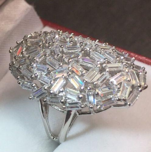 14k White Gold Layer On Sterling Silver 5 ct Baguette CZ Huge Cocktail ring S-6 - 3 Royal Dazzy