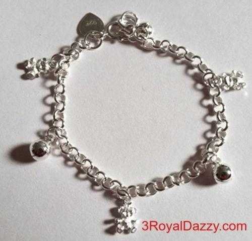Baby Teddy Bears & Ball Bell Dangling 925 Sterling Silver Charms Girls Bracelet - 3 Royal Dazzy