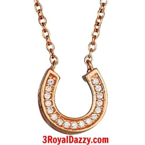 New 14k Rose Gold layer on Sterling Silver CZ Crystal Horseshoe Pendant Necklace - 3 Royal Dazzy