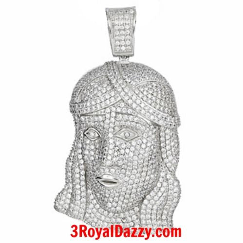 XL Size Mens Hip Hop Iced Out Bling 3D Jesus Face white gold on Silver Pendant - 3 Royal Dazzy