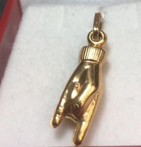 New Hollow 18K Yellow Gold Amulet Charm Pendant-Horned Hand-Mano Cornuto - 3 Royal Dazzy