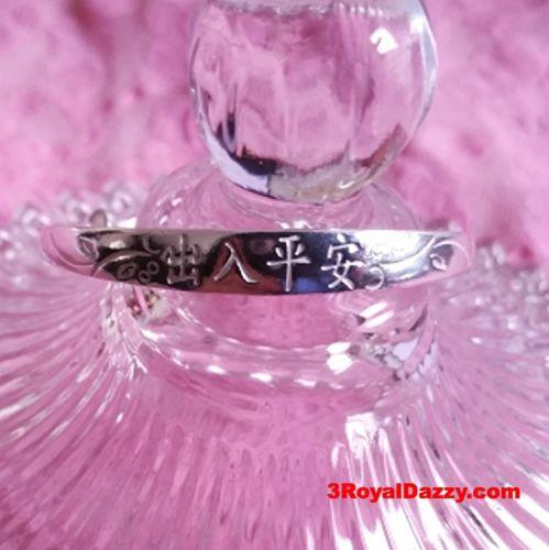 Handmade Sterling Silver Flat Chinese Blessing Newborn Baby Adjustable Bangle - 3 Royal Dazzy