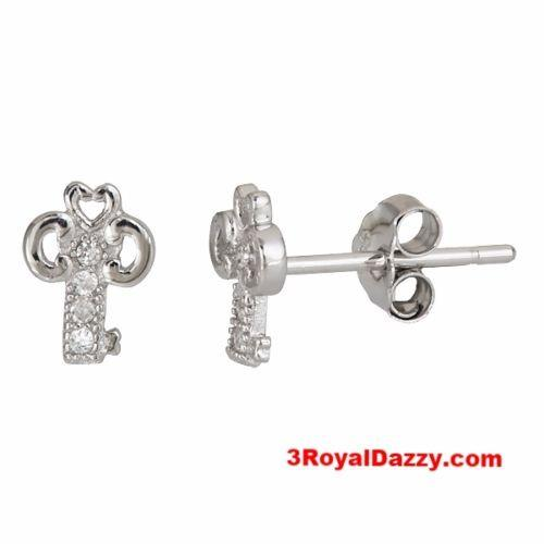 Cute Shimmering key design .925 Sterling Silver Micro Pave CZ Stud Earrings - 3 Royal Dazzy