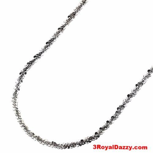 "18k gold layer 925 Silver Popcorn Sparkle Rock Italian Necklace Chain- 2MM - 20"" - 3 Royal Dazzy"