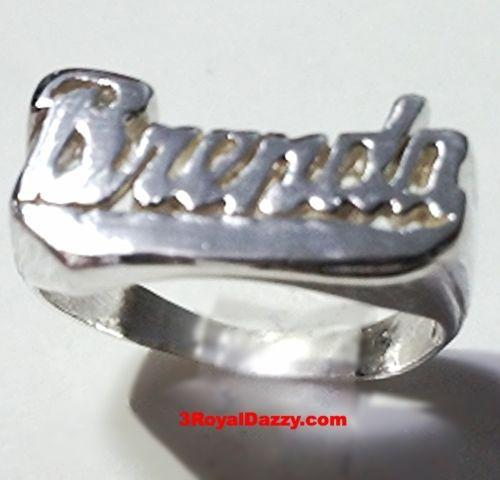 "Personalized Name Ring Custom Name Solid 925 Sterling Silver Customized-""Brenda"" - 3 Royal Dazzy"