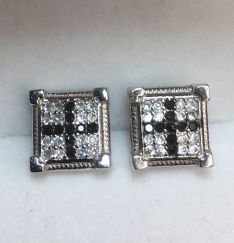 White & Black Cubic Zirconia 14k White Gold On Silver Square Cross earring 9.3mm - 3 Royal Dazzy