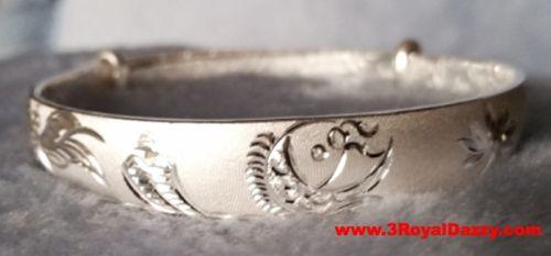 Handmade Koi Fish With Lotus Design 999 Solid Fine Silver Adjustable Bangle - 3 Royal Dazzy