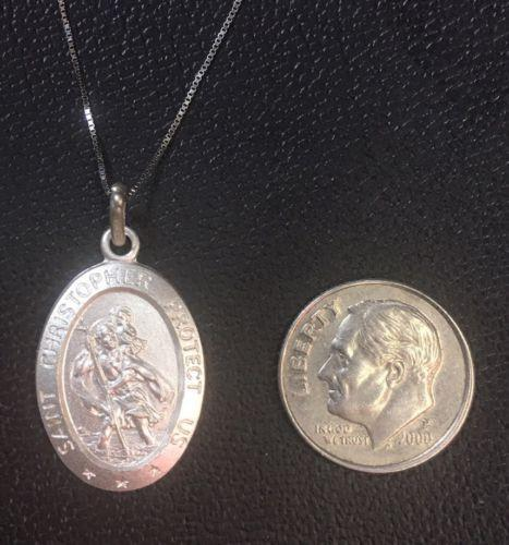 "14K White Gold Layer On Solid Silver Saint Christopher Pendant Free Chain18"" - 3 Royal Dazzy"