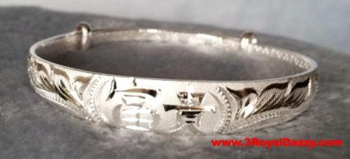 Handmade Chinese Longevity and Happiness 999 Solid Fine Silver Adjustable Bangle - 3 Royal Dazzy