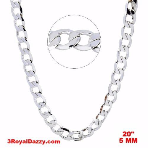 "New Italian 14k White gold Rhodium on 925 Sterling Silver Curb Chain- 5 mm - 20"" - 3 Royal Dazzy"