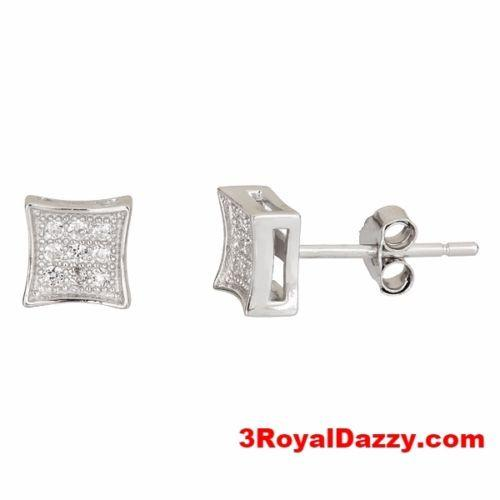 Small Square .925 Sterling Silver Micro Pave Cz Stone Fashion Earrings Unisex - 3 Royal Dazzy