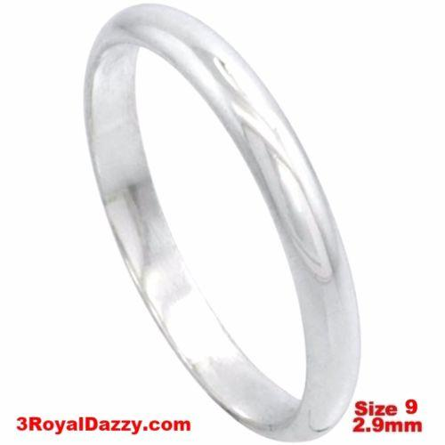 Italy 14k white gold layered on silver polish wedding band ring 2.9mm Size 9 - 3 Royal Dazzy