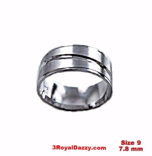 Lined Design Matte & Shiny 18k layer on Sterling Silver Ring Band 7.8 mm Size 9 - 3 Royal Dazzy