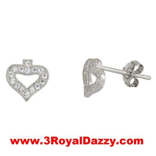 Ace Of Spades Stud Earrings on Cubic Zirconia 18k white gold on Sterling Silver - 3 Royal Dazzy