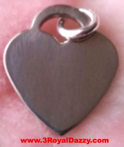 Engravable Flawless Flat Heart Solid .925 Anti Tarnish Sterling Silver Pendant - 3 Royal Dazzy