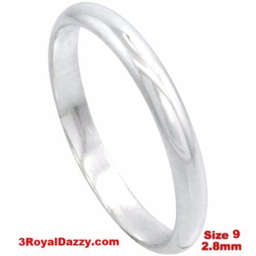 Italy 14k white gold layered on silver polish wedding band ring 2.8mm Size 9 - 3 Royal Dazzy