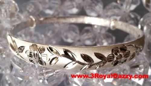 Handmade Carved Flower design .999 Solid fine Silver adjustable Unique Bangle - 3 Royal Dazzy