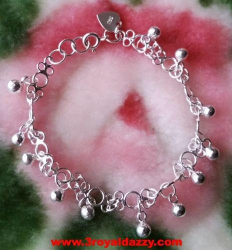 Little Melody Ball Charms .925 Anti Tarnish Sterling Silver Dangling Bracelet - 3 Royal Dazzy