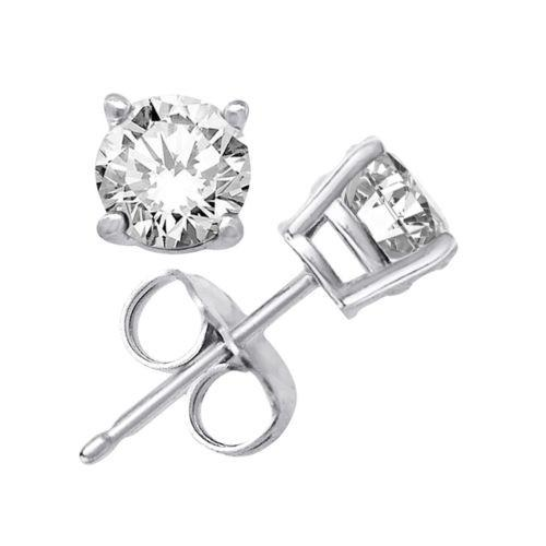 Platinum Layered Sterling Silver Round Cut 1ct Cz Unisex Prong Setting Stud Earr - 3 Royal Dazzy