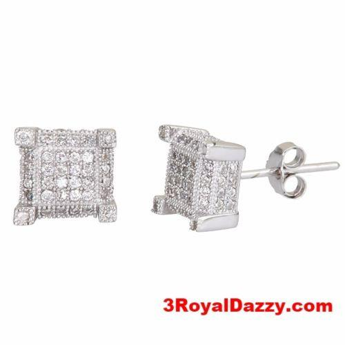 Men 4 corner square micro pave CZ stones .925 Sterling Silver Stud Earrings - 3 Royal Dazzy