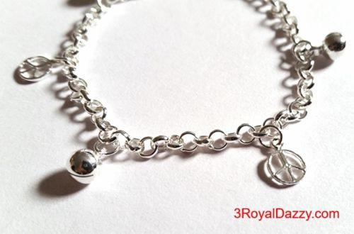 Peace Sign & Ball Bell Dangling 925 Sterling Silver Charms Little Girls Bracelet - 3 Royal Dazzy