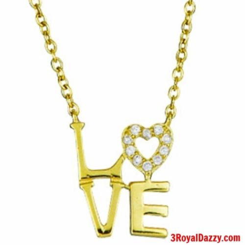 "14k Gold on 925 Sterling Silver Womens Girls Love Heart ""L.O.V.E"" Letters Charm - 3 Royal Dazzy"