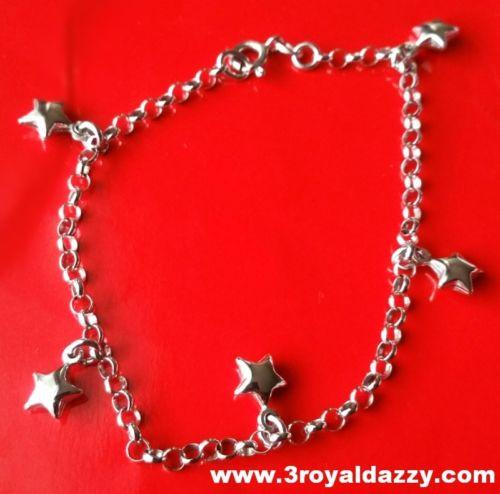 18k white gold layer on Solid 925 Silver dangling hollow stars charms brecelet - 3 Royal Dazzy