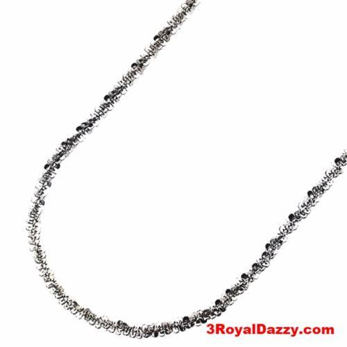 "18k gold layer 925 Silver Popcorn Sparkle Rock Italian Necklace Chain- 2MM - 18"" - 3 Royal Dazzy"