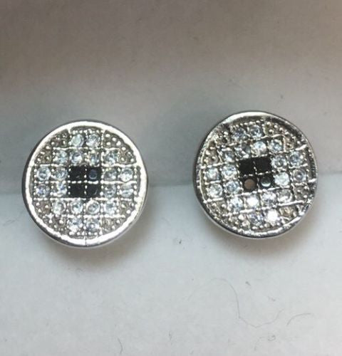 White & Black Cubic Zirconia 14k White Gold On Sterling Silver Round earring - 3 Royal Dazzy