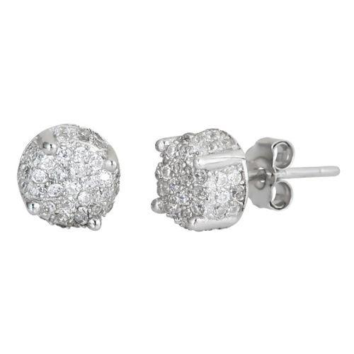 All side Mirco Pave set on CZ .925 sterling silver Earrings with 18k white gold - 3 Royal Dazzy