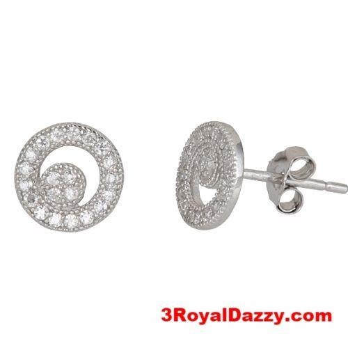 Round cresent style micro pave with CZ .925 Sterling Silver Stud Earrings - 3 Royal Dazzy