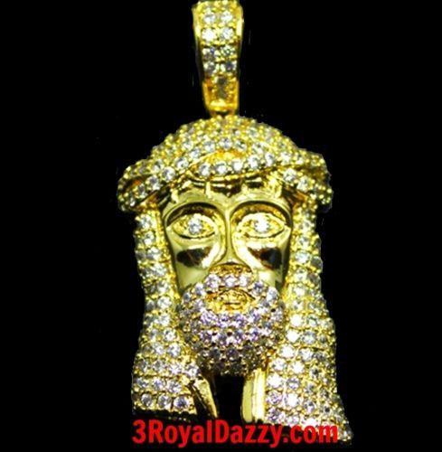 Mens Hip Hop Iced Out 3D Jesus Face Yellow gold on 925 Sterling Silver Pendant M - 3 Royal Dazzy