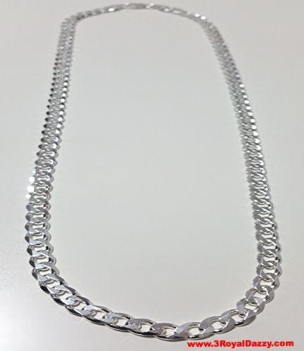"Men Women Children Sterling Silver Italian Cuban Curb Thicker Necklace 5.5mm 24"" - 3 Royal Dazzy"