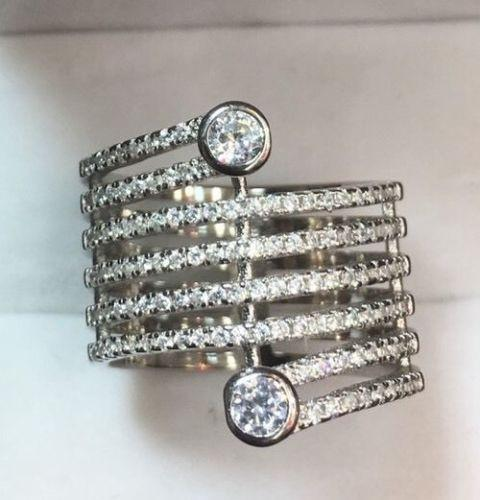 New 14k White Gold  On Sterling Silver 8 Roll Round CZ Huge Cluster ring S- 6.5 - 3 Royal Dazzy