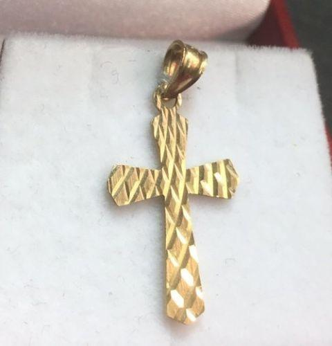 New Small Solid 14k Solid Yellow Gold Diamond Cut Cross Pendant Charm - 3 Royal Dazzy