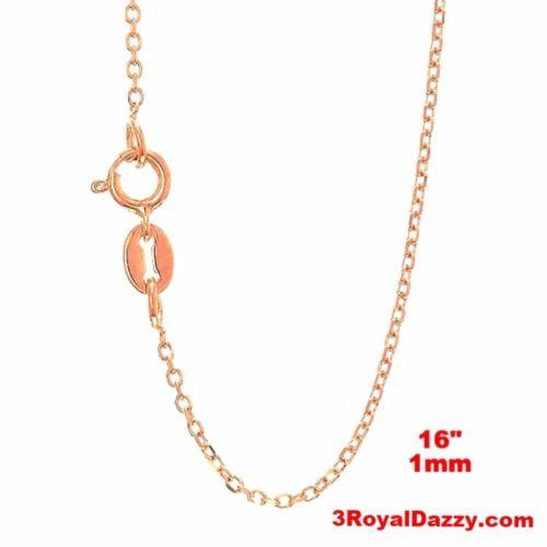 "Italian 14k Rose Gold over Sterling Silver Diamond Cut Cable Chain - 1 MM 16"" - 3 Royal Dazzy"